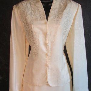 Sz 16 Adrianna Papell Ivory 2 Pc Skirt Set Ruffled